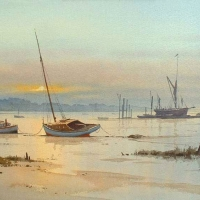 2-boats-at-dawn-river-orwell